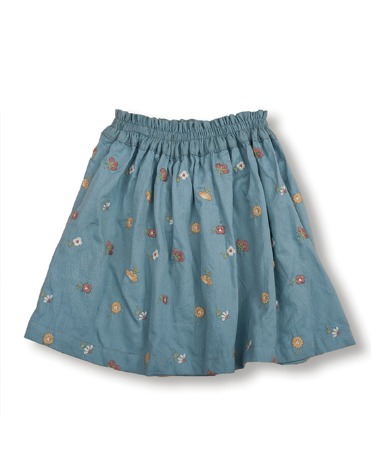 Uniqua Skirt - Duck Blue With Flower Badge