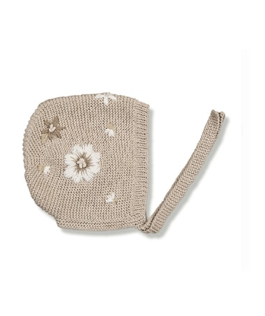Flora Summer Bonnet - Nude With Floral Embroidery