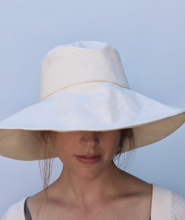 Women's Canvas Hat- Natural (Wide)