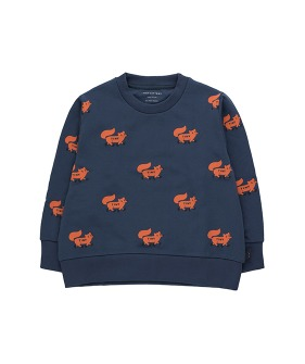 """Foxes"" Sweatshirt - Light Navy/Sienna"