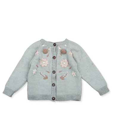 Flora Summer Cardigan - Duck Blue With Floral Embroidery ★ONLY 3Y★