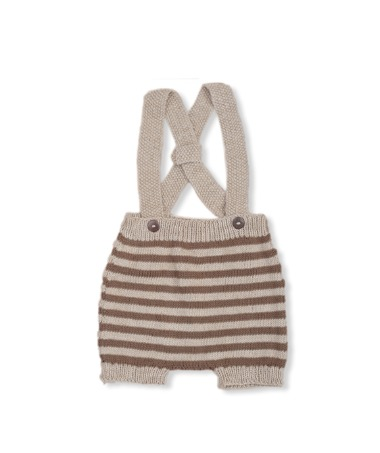 Suspender Shorts - Nude With Nutty Brown Stripes ★ONLY 18-24M★