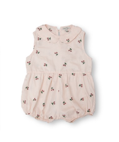 Uniqua Vintage Romper - Dusty Pink With Cherry Badge