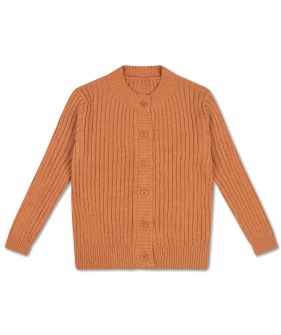 Knit Round Neck Cardigan - Burnt Autumn