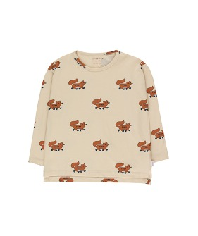 """Foxes"" Tee - Cream/Brown"