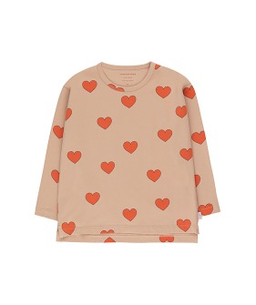 """Hearts"" Tee - Light Nude/Red"