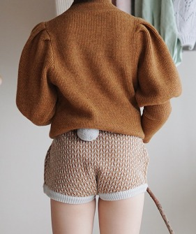 Shorts With Pompom - Brown