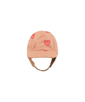 """Hearts"" Snow Hat - Tan/Red"