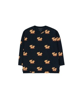 """Foxes"" Tee - Navy/Camel"