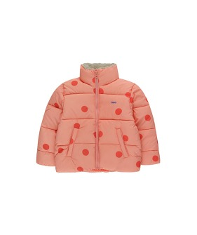 """Big Dots"" Padded Jacket - Peachy Red/Red"