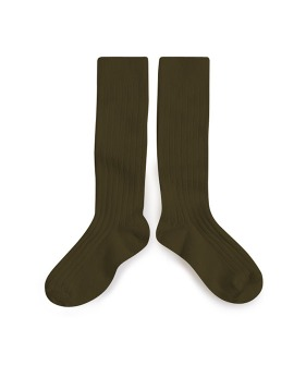 Ribbed Knee-High Socks - #745 Cactus