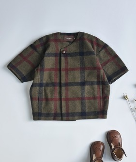 Maru Coat - Blue Brown Check