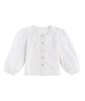 Connie Blouse - Off White Cotton ★ONLY 5-6Y★