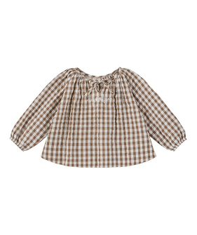 Embroidered Olive Blouse - Seersucker Gingham In Nut
