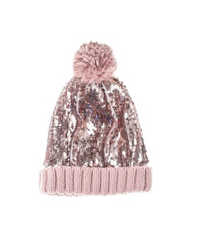 Super Sequin Bobble Hat - Pink
