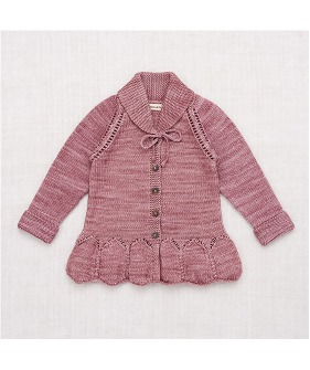 Peplum Cardigan - Antique Rose