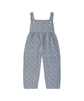 Margo Dungarees - Blue Floral Brushed Cotton Twill