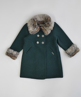 Double Breast Wool Fur Coat - #3224 Botella