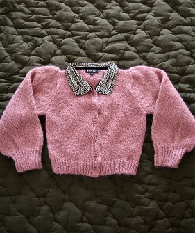 Cardigan with Embroidered Collar - Pink