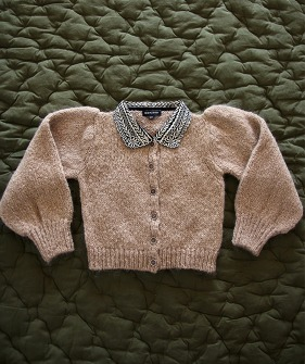 Cardigan with Embroidered Collar - Natural
