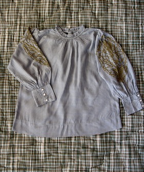 Blouse Long Cuff - Blue Check