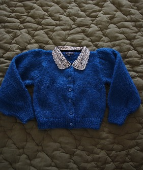 Cardigan with Embroidered Collar - Blue