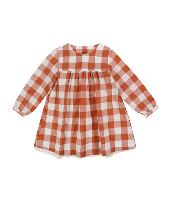 Delsey Dress - Gingham Rust