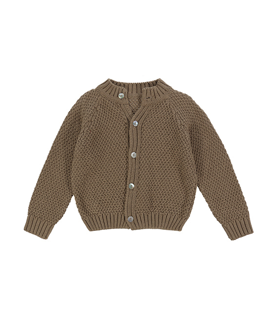 Hastings Cotton Moss Stitch Cardigan - Mushroom ★ONLY 6-7Y★