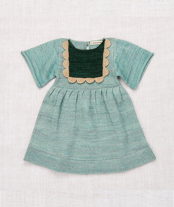 Scallop Bib Dress - Sage