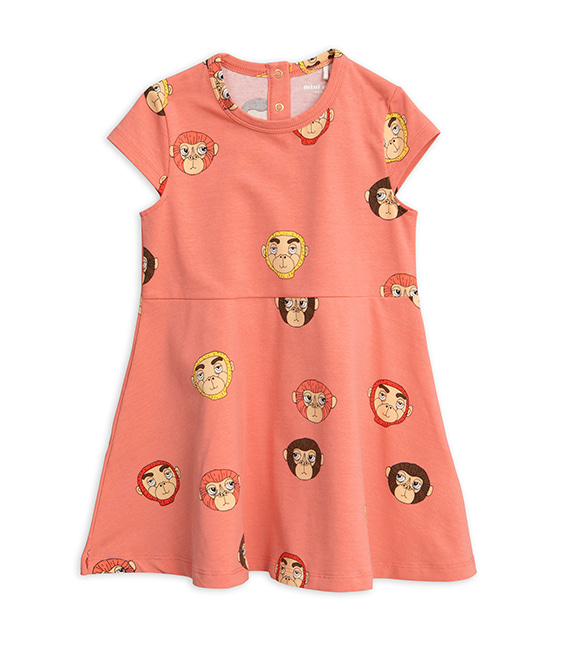Monkeys Aop SS Dress - Pink