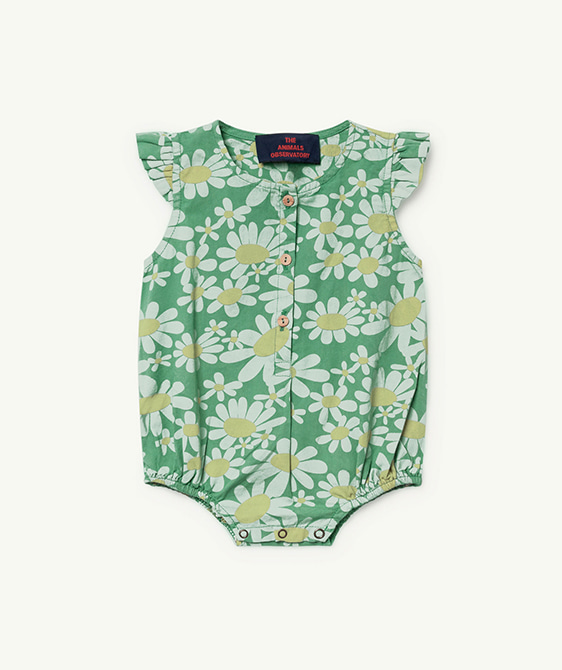 Butterfly Babies Jumpsuit - Green Daisies