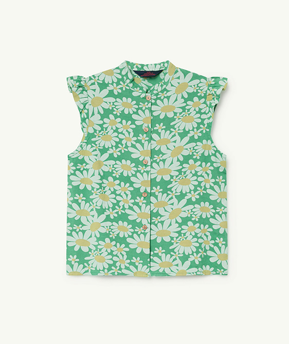 Kangaroo Kids Shirt - Green Daisies