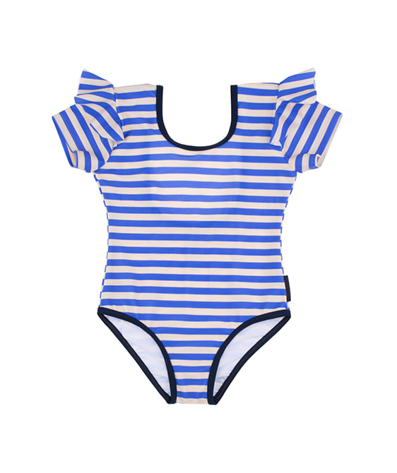 Stripes Frill Swimsuit - Cream/Ultramarine ★ONLY 2Y★