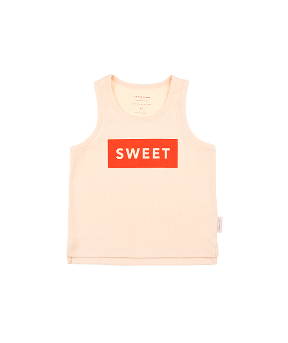 'Sweet' Crop Tank Top - Cream/Red