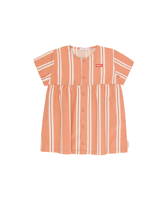 'Retro Stripes' Ss Dress - Terracotta/Cream ★ONLY 2Y★