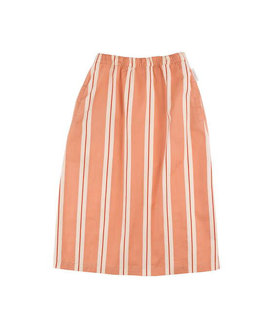 'Retro Stripes' Long Skirt - Terracotta/Cream