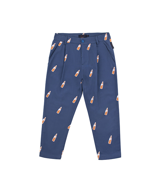 'Soda Bottles' Pleat Pant - Light Navy/Brown