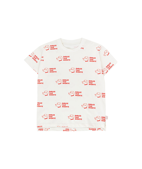 Dogs Tee - Off-White/Red