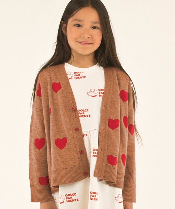 Hearts Cardigan (Baby/Kid) - Tan/Red