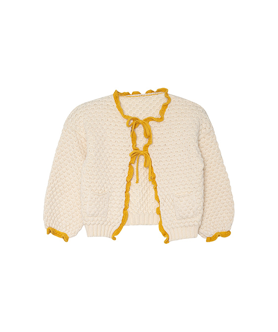 Ruffle Cardigan  -  Natural And Moustard