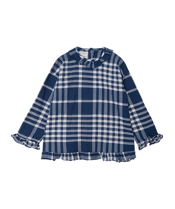 Checks Ruffled Blouse  - Blue