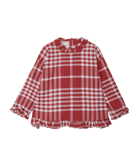Checks Ruffled Blouse  - Terracotta