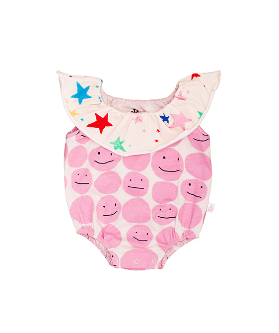 Collar Romper - Pink Smiley