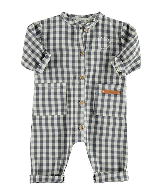 Jumpsuit - Ecru & Grey Checkered
