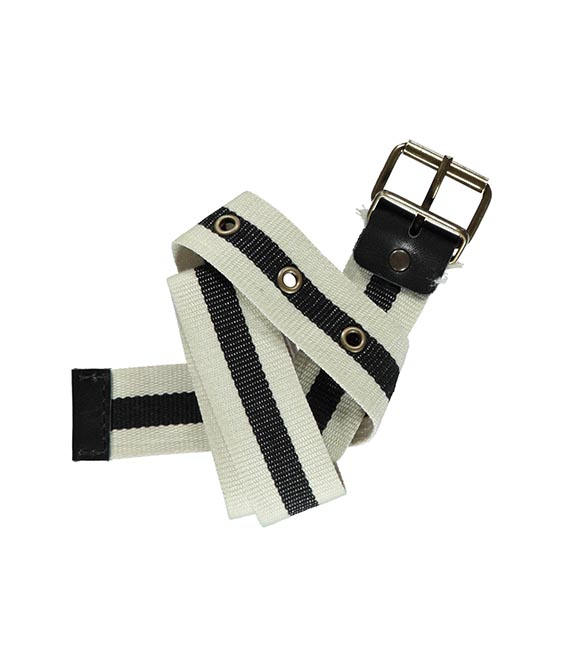 Ecru & Anthracite Stripe Belt