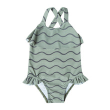 Rolling Waves Ruffle Swim Suit - Seafoam