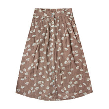 Seashell Button Midi Skirts - Cocoa  (Kid/Mom)