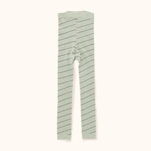 Diagonal Stripes Leggings - Pistacho/Navy