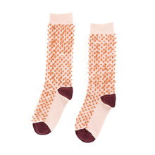 Hairy High Socks - Nude/Terracotta