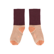 Rib Medium Socks - Dark Nude/Plum